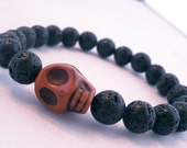 Men's Lava Rock and Carved Sienna Skull Wrist Mala