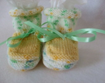 Handknit Baby Booties - Yellow and Green - Why I Made Them