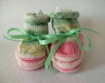 Handknit Booties - Sweet Pastels