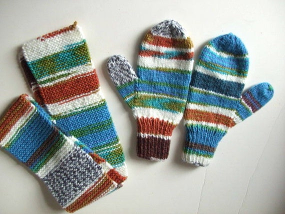 Handknit Mittens and Scarf - Dare to be Different