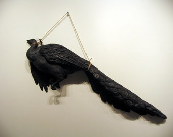 You can't take it with you (Wealth) - Lifesize Peacock Sculpture with Graphite Patina