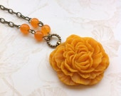 Tangerine Ruffled Peony and Jade Necklace