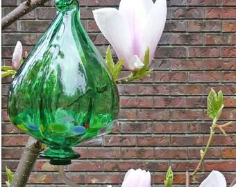 Beautiful Hummingbird Feeder - Emerald Green Blown Glass