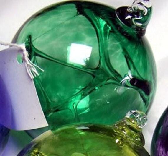 Hand Blown Glass Witch Ball - Green