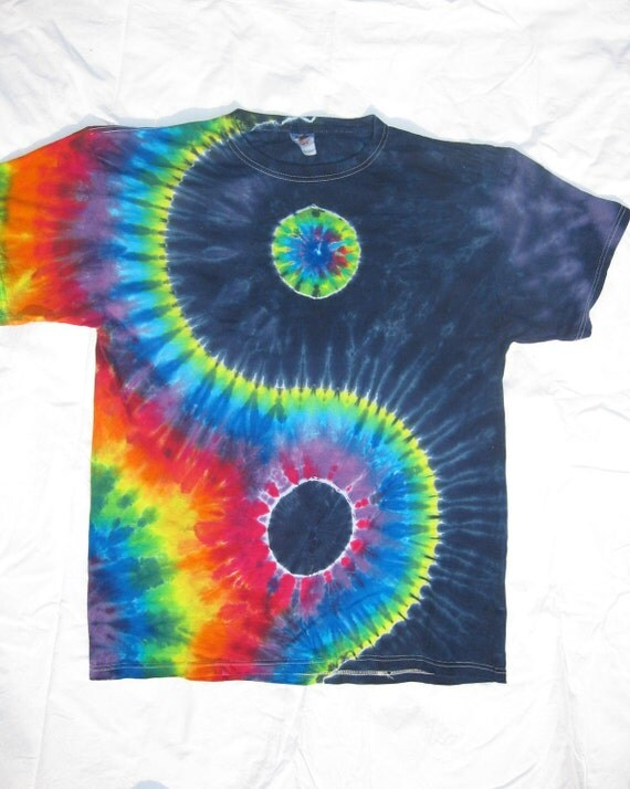 Tie Dye Navy and Rainbow YIN-YANG Shirt size XL