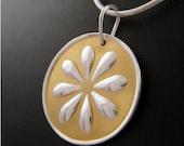 gold on silver DAISY pendant