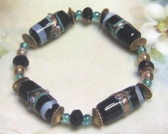 Black and Teal Lampwork Bracelet