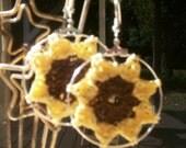 Crocheted Sunflower Hoop Earrings