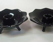 Fenton Black Glass Footed Candleholders Candle Holders Vintage Art Deco