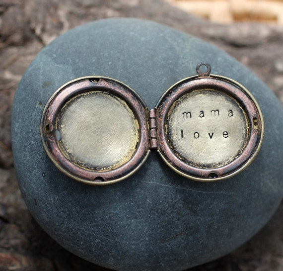 mama love . a (whispered) hand stamped soul mantra locket