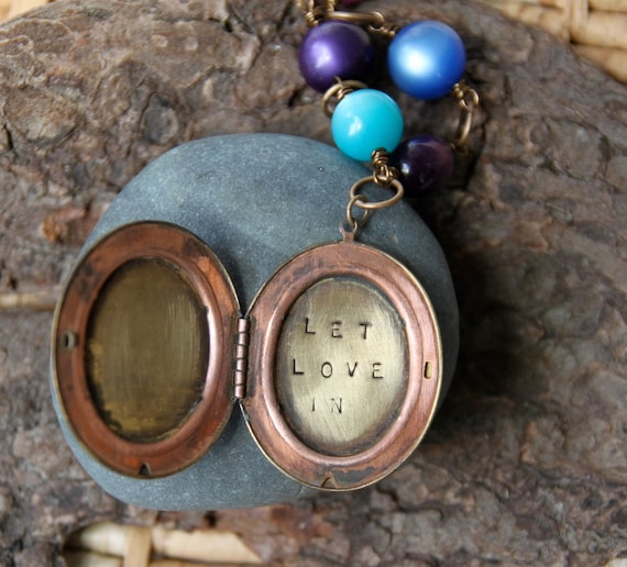let love in . a (whispered) hand stamped soul mantra locket