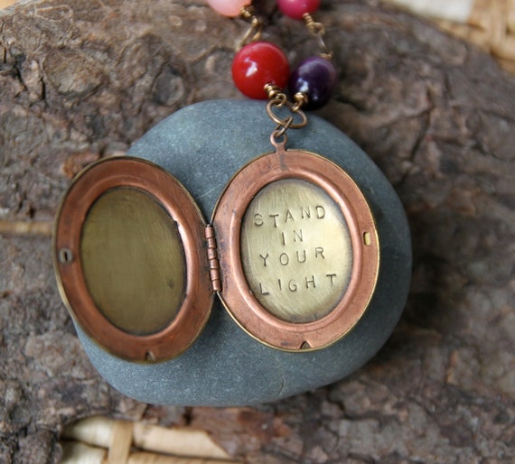 stand in your light . a hand stamped soul mantra locket