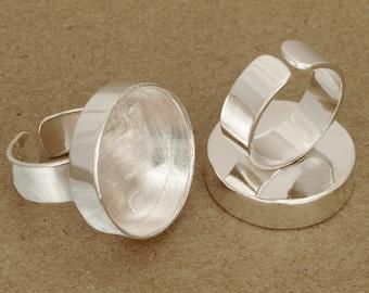6pcs deep Trays round Adjustable silver tone Blank RING Base