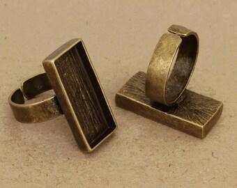 40pcs 12x27mm   antique bronze Pewter blank bezel rectangle ring