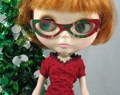 Doll Glasses for Blythe -- Catty-B in Christmas Plaid -- PAIR A