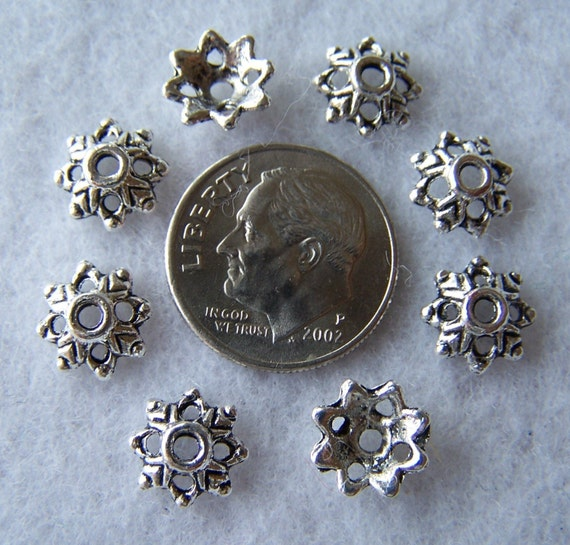 50 pcs Silver tone Metal Bead Caps 9mm -LeadFree- C20a