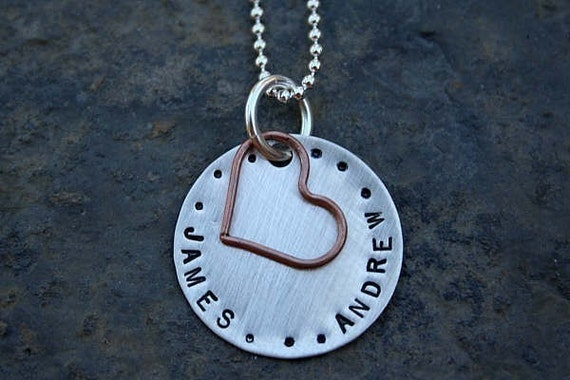 NEW... simple love with a copper heart...