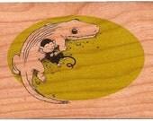 Wood Postcard - The Monkey and the Crocodile