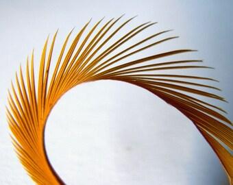 12 GOLDEN HARVEST Curly Biot Sword Feathers Golden Yellow