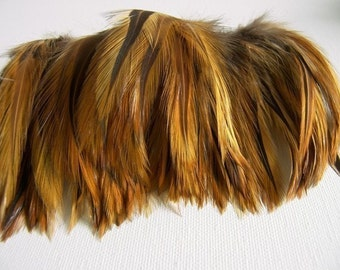 Red Furnace Top Stitched Rooster Feathers, 6 INCH Strip