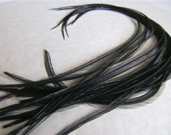 "6 SKINNY LONG Black Hair Feather Extensions 11"" to 13"" Inches Long Thin Narrow Tuftless"
