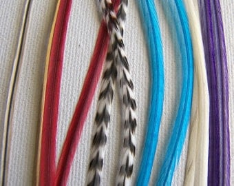12 Feather Hair Extension Mix, 7 to 10 Inches Long SKINNY Hair Feathers, JEWELS of the NILE