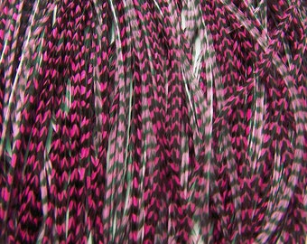 8 CHERRY PINK Grizzly SKINNY Feather Hair Extensions, 9 to 11 Inches long