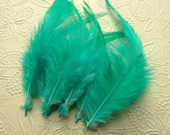 10 GREEN TURQUOISE Rooster Saddle Feathers, 4 to 6 Inches Long