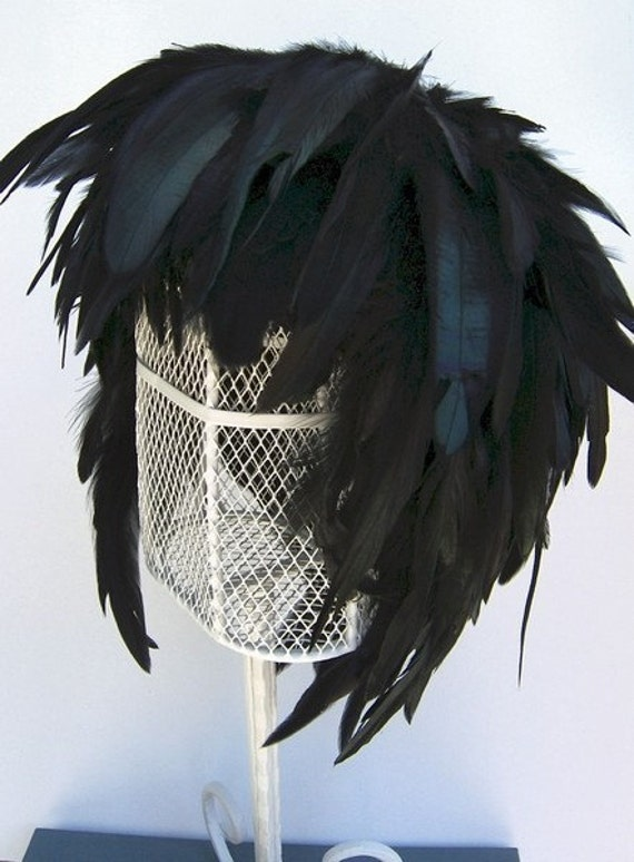 Feather Wig Ebony Iridescent Raven Black Chic Posh Fashion