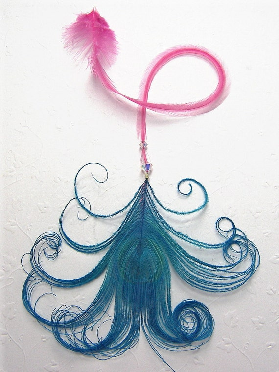 Long Pink Feather, Blue Peacock Feather, Swarovski Crystals, Hair Extension & 10 Micro Links