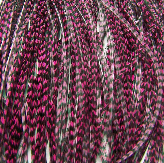 10 CHERRY PINK Grizzly SKINNY Feather Hair Extensions, 7 to 9 Inches long