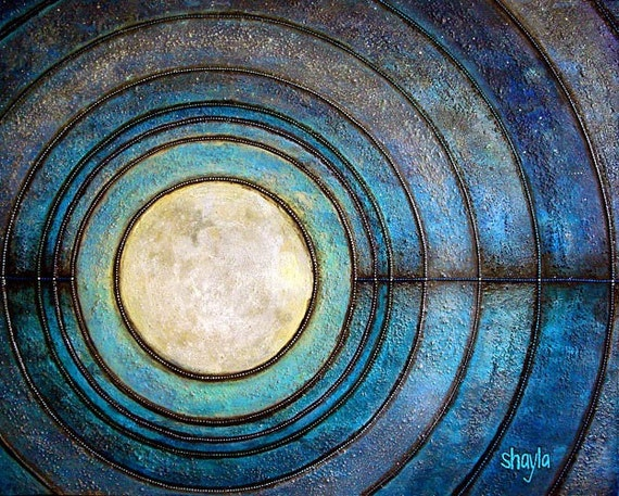 Enlightenment - Original Light Reactive Painting, 24x30, made with Beach Sand and Glass, also Glows in the Dark