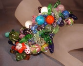 From The Beach To The Forest  Crocheted Bead Cuff   really OOAK