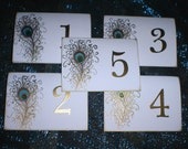 Custom Order for lindsaygavit  Peacock Feather 1 Embossed Wedding Table Numbers x 20