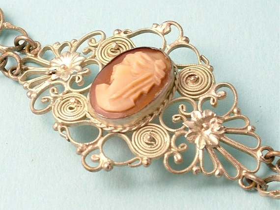 Vintage 1960s silver plated, filigree and shell cameo bracelet