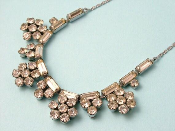 Vintage/ antique Art Deco / 1940s chrome and paste/ rhinestone, daisy necklace