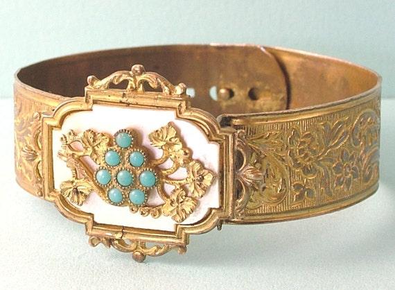 Vintage Art Nouveau 1940s Victorian style, gilt metal, celluloid and paste bangle