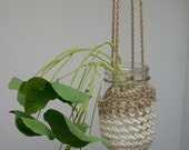 Crochet Hanging Pouch- Medium, Off-white and Tan