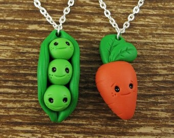 Peas and Carrot Best Friend Necklace Set