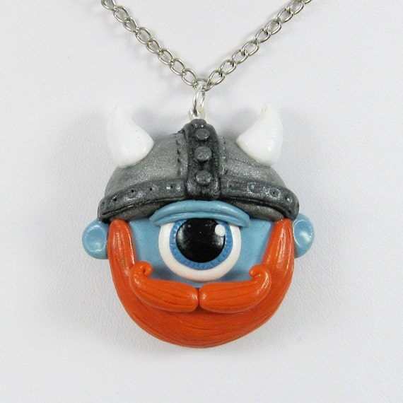 Viking Cyclops Polymer Clay Monster Necklace