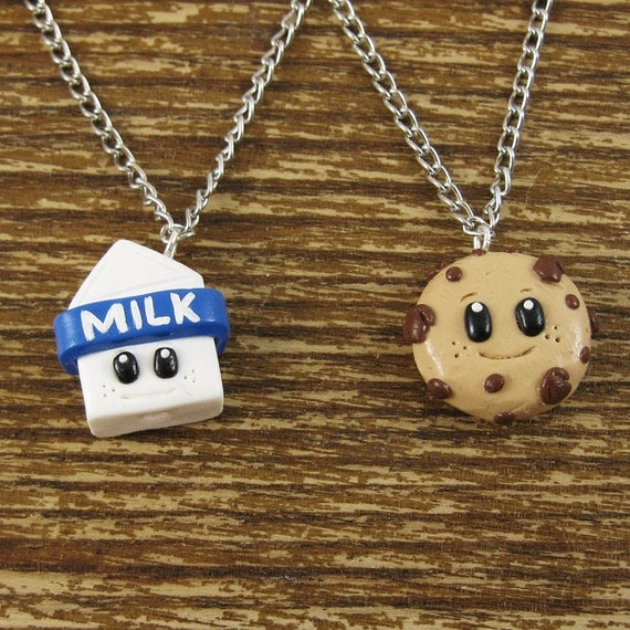 Tiny Milk & Cookies Best Friend Necklace Set