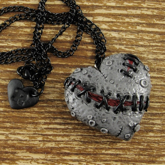 Dead Stitched Zombie Necklace Heart