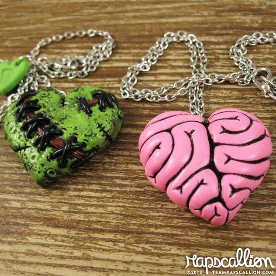 Zombie and Brain Heart Best Friends Necklace Set