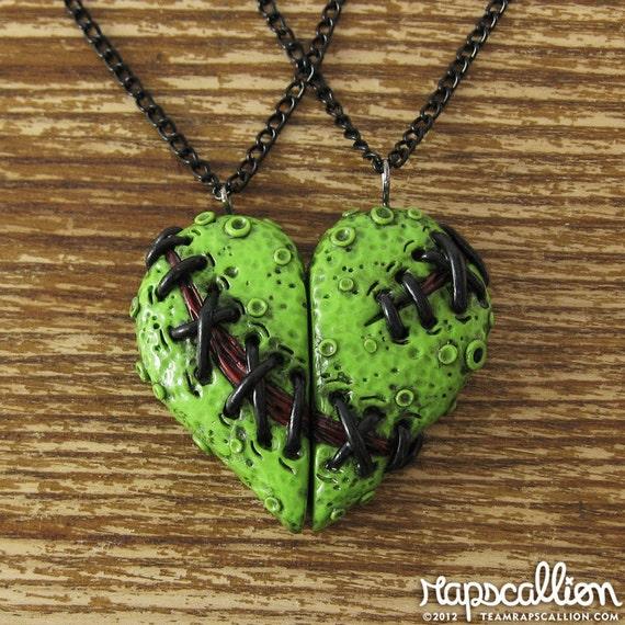 Zombie Heart Best Friends Necklace Set