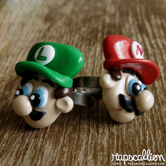 Mario and Luigi Best Friends Ring Set