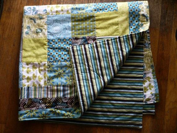 NEW PRICE Quilt -Chocolate Blue