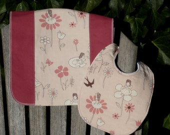 Baby Bib and Burpie Set - Garden Fairies (#205)