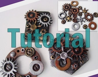 Create your own Steampunk Cogs Gears plus Pendant - Polymer Clay Tutorial - Digital PDF File Download