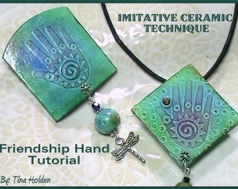 Imitative Ceramic - SILKSCREEN or Stamp on Polymer Clay tutorial - Pin / pendant combo with bonus tutorial - Digital PDF Download