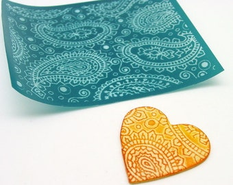 Paisley Silkscreen for Polymer clay, flat surfaces such as metal, Paper Crafts